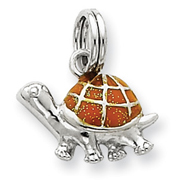 Sterling Silver Yellow Enamel Turtle Charm