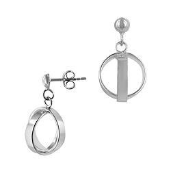 Sterling Silver Crossing Rings Stud Earrings