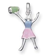 Sterling Silver Enamel Cheerleader Charm