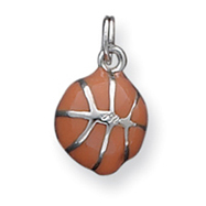 Sterling Silver Orange Enameled Basketball Charm