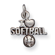 Sterling Silver Antique I Heart Softball Charm