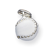 Sterling Silver White Enameled Baseball Charm