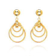 14K Polished & Twisted Three Circle Dangle Earrings