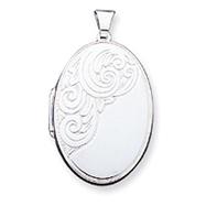 Sterling Silver Scroll Oval Locket