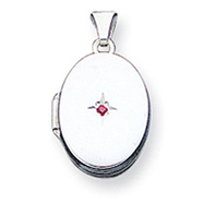Sterling Silver Red Synthetic Stone Oval Locket