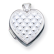 Sterling Silver Quilted Heart Locket