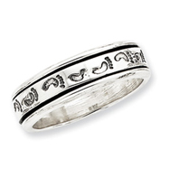 Sterling Silver Antiqued Band With Footprints