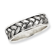 Sterling Silver Antiqued Band With Braid