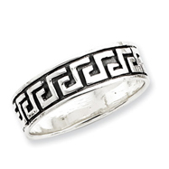 Sterling Silver Antiqued Greek Key Band