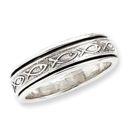 Sterling Silver Antiqued Band With Fish