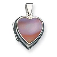 Sterling Silver Pink Shell Heart Locket