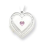 Sterling Silver Pink CZ Heart Locket