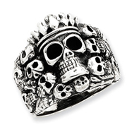 Sterling Silver Antiqued Skulls Ring
