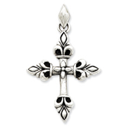 Sterling Silver Antiqued Fleur de lis Cross Pendant