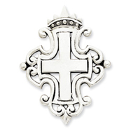 Sterling Silver Antiqued Cross & Crown Pendant