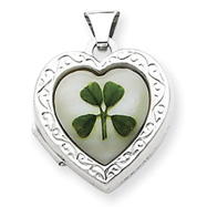 Sterling Silver Mother Of Pearl With 4 Leaf Clover 2-Frame Heart Locket