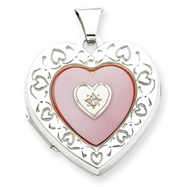 Sterling Silver Mearl Of Pearl  Diamond 2-Frame Heart Locket