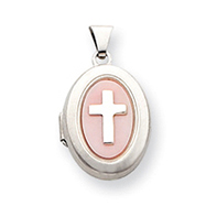 Sterling Silver Pink Mother Of Pearl Cross 2-Frame Oval Locket