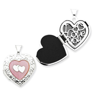 Sterling Silver Pink Mother Of Pearl Double Heart Locket