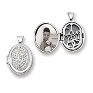 Sterling Silver Pave Crystal Oval Locket