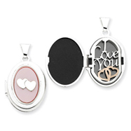 Sterling Silver Pink Mother Of Pearl Double Heart  Oval Locket