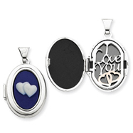 Sterling Silver Double Heart Cameo Oval Locket