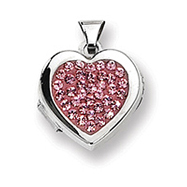 Sterling Silver Pave Pink Crystal  Heart Locket