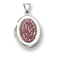 Sterling Silver Pave Pink Crystal Oval Locket