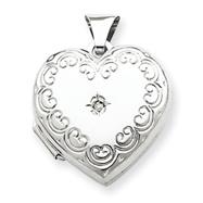 Sterling Silver Diamond Heart Locket