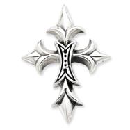 Sterling Silver Gothic Fluer De Lis Cross Pendant