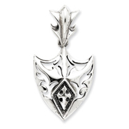 Sterling Silver Antiqued Shield Pendant