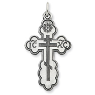Sterling Silver Eastern Orthodox Cross Pendant