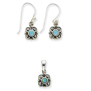 Sterling Silver Created Opal Earring & Pendant Set