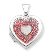 Sterling Silver  Single Heart Plain Light Rose Crystal Locket