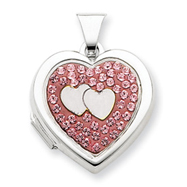 Sterling Silver  Heart Double  Heart Light Rose Crystal Locket