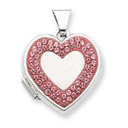 Sterling Silver  Heart Light Rose Crystal Border Locket