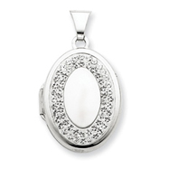 Sterling Silver  Oval White Crystal Border Recess Locket