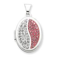 Sterling Silver  Oval Light Rose White Crystal Locket