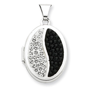 Sterling Silver Oval Black And White Crystal Locket