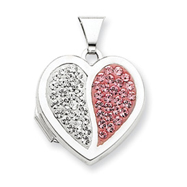 Sterling Silver  Heart Light Rose And White Crystal Locket