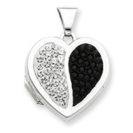 Sterling Silver  Heart Black And White Crystal Locket