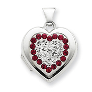 Sterling Silver Red & White Crystal Locket