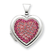 Sterling Silver 18mm Heart Rose, Light Rose Crystal Locket
