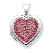Sterling Silver 18mm Heart Rose, Light Rose Crystal Locket
