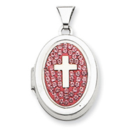Sterling Silver Oval Cross Light Rose Crystal Locket