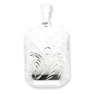 Sterling Silver Diamond-Cut Rectangular Locket Charm
