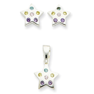 Sterling Silver Multi-colored CZ Star Earring & Pendant Set