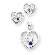 Sterling Silver Blue & Clear CZ Heart Earring & Pendant Set