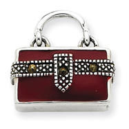 Sterling Silver Enameled Purse Charm