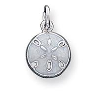 Sterling Silver Enameled White Sanddollar Charm
